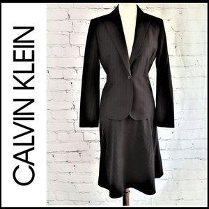 CALVIN KLEIN 2-PC Black Pinstripe Skirt Suit 6